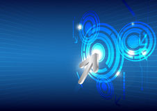 Hitech button on touch screen. Click hitech button on touch screen Royalty Free Stock Photos