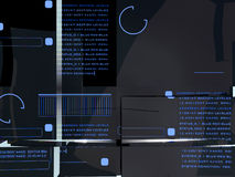 Hitech Display. Hitech computerized display under layers of refracted glass Stock Images