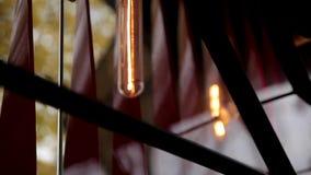 在现代样式的时尚和hitech灯 温暖的口气电灯泡灯 在咖啡馆和精品店的灯 Fshion 影视素材