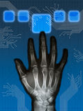 Hitech hand. Beautiful xray hand and hitech background composition Stock Image