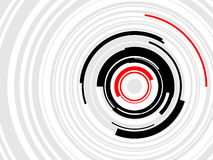 HiTech HUD Rings Vector. Layered  illustration of geometric, concentric rings in black, greet and red Stock Photos
