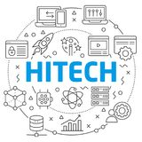 Hitech Linear illustration slide. White Bg Linear illustration slide for the presentation Stock Image