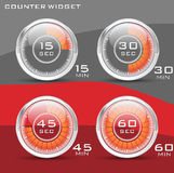 HitechShiny Counter. Seconds and Minutes Counter Widget Stock Photo