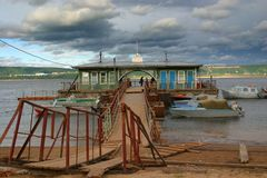 Hithe on the river Volga Stock Photo