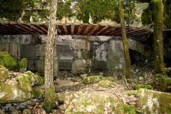 Bunkers. Hitler's bunker destroyed by Soviet troops stock image