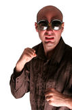 Hitman. Agressive bald man show his fist Stock Photos