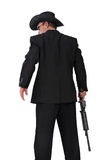 Hitman with a gun back-shot photo on white Stock Image