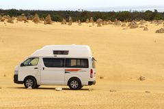 Camper van in the Pinnacles desert, Western Australia Royalty Free Stock Photo