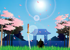 Hitori Samurai. Vwctor illustration of loneliness sanurai Royalty Free Stock Photos