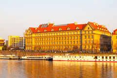 Hitorical building of Faculty of Law on Dvorak`s Embankment at Vltava River. Part of Charles University in Prague, Czech Stock Photography