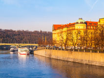 Hitorical building of Faculty of Law on Dvorak`s Embankment at Vltava River. Part of Charles University in Prague, Czech Royalty Free Stock Photo