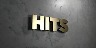 Hits - Gold sign mounted on glossy marble wall  - 3D rendered royalty free stock illustration. This image can be used for an online website banner ad or a Royalty Free Stock Images