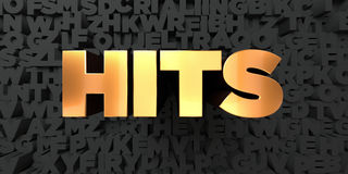 Hits - Gold text on black background - 3D rendered royalty free stock picture. This image can be used for an online website banner ad or a print postcard Royalty Free Stock Photos