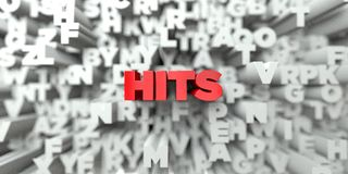 HITS -  Red text on typography background - 3D rendered royalty free stock image. This image can be used for an online website banner ad or a print postcard Royalty Free Stock Photo