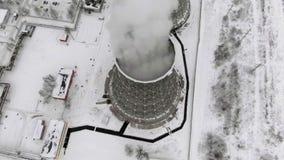 Hitte elektrische post in de winter Lucht Mening Hoogste mening, helikopterspruit stock videobeelden