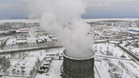 Hitte elektrische post in de winter Lucht Mening Hoogste mening, helikopterspruit stock footage