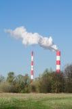 Hitte en elektrische centrale in Warshau Stock Foto's