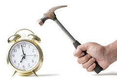 Hitting the alarm clock Royalty Free Stock Images