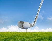 Hitting ball. Photo of golf club hitting ball stock images