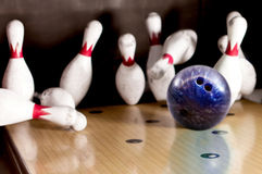 Hitting a bowling strike Royalty Free Stock Image