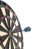 Hitting the bullseye!. A dartboard with a dart hitting the bullseye in the center of the board Royalty Free Stock Image