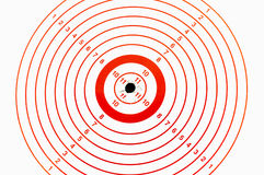 Hitting the bullseye. Target with bullet marks in the bullseye Stock Photography