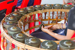 Hitting gamelan musicians. The Band Instruments Thailand stock photo