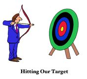 Hitting Our Target. Business cartoon Hitting Our Target vector illustration