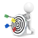 Hitting Target. 3D little human character with a Dart Board. Arrows X4 Royalty Free Stock Image