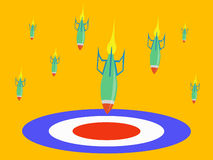 Hitting the target. An illustration showing bombs raining down and hitting a target Royalty Free Stock Images