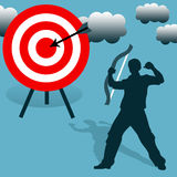 Hitting target. Being successful and hitting target stock illustration