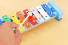 Hitting Xylophone Notes. With Hammer Royalty Free Stock Photos