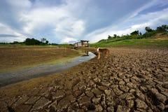 Hitze, ausgetrockneter Boden der Dürre Lizenzfreie Stockfotos