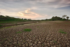 Hitze, ausgetrockneter Boden der Dürre Stockfotografie