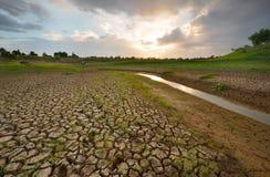 Hitze, ausgetrockneter Boden der Dürre Lizenzfreies Stockfoto