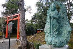 The Hiun kannon stands in front of the main temple in Tenryu-ji, Royalty Free Stock Photos