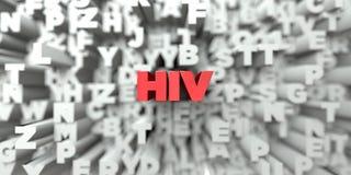 HIV -在印刷术背景的红色文本- 3D回报了皇族自由储蓄图象 库存例证