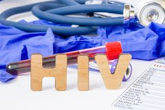 HIV abbreviation or acronym for medical concept, laboratory detection or diagnosis of human immunodeficiency virus or virus that c. Auses AIDS. Word HIV amid lab royalty free stock image