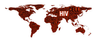 HIV or AIDS concept on world map Stock Photo