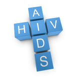 HIV and AIDS crossword on white background Stock Photo