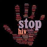 HIV AIDS info--tekst grafiek royalty-vrije illustratie