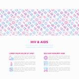 Hiv- och hjälpmedelbegrepp med den tunna linjen symboler arkivbild
