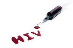 HIV a orthographié par sang sur le fond d'isolement par blanc Images libres de droits
