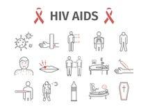 HIV POMAGA objawy, traktowanie Kreskowe ikony ustawiać również zwrócić corel ilustracji wektora obrazy royalty free