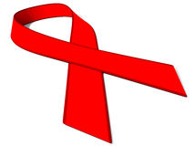 HIV Red Ribbon. 3d imagine of fight against HIV virus Stock Photos