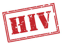 Hiv red stamp. On white background Stock Photography