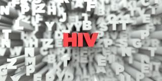 HIV - Red text on typography background - 3D rendered royalty free stock image stock illustration