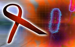 HIV ribbon and bacillus bacteria Royalty Free Stock Image