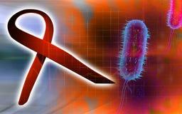 HIV ribbon and bacillus bacteria Royalty Free Stock Image