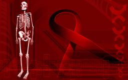 HIV ribbon and Human Skelton Stock Image
